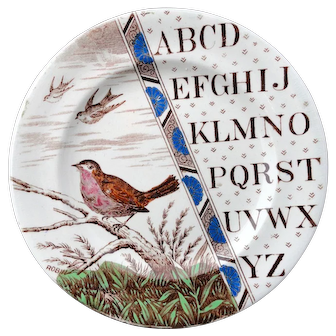 Outstanding Staffordshire Plate ~ ABC ROBIN ~ 1880
