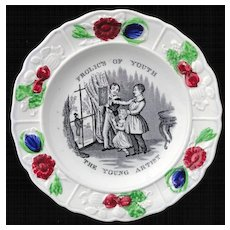Early Pearlware Child's Plate ~ Young Artist 1830