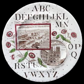 Rare ABC Alphabet Plate ~ PARIS & Notre-Dame1880