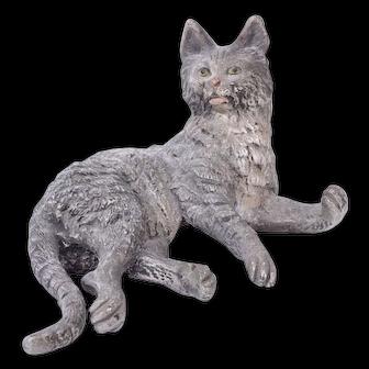 Antique Cold Painted Vienna Bronze Cat Preening c1900