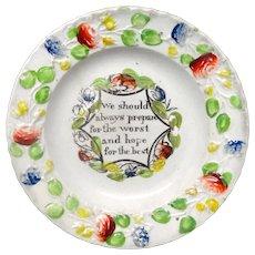 Creamware Pratt Decorated Motto Plate ~ Hope for the Best ~ 1830
