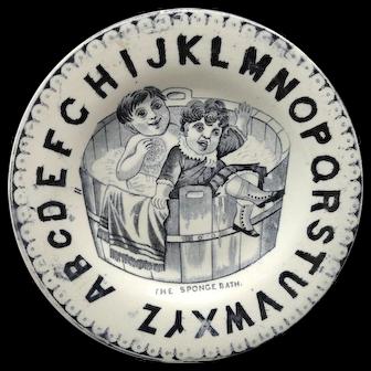 Amusing ABC Childs Plate The SPONGE BATH 1860 Staffordshire BOYS in TUB