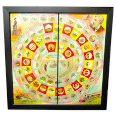 Exc Framed Early Round The World Game Board ~ NELLIE BLY 1890
