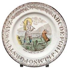 Antique Robinson Crusoe + Goat ~ ABC Plate 1880