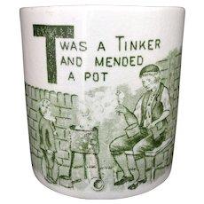 Rare Staffordshire Childs ABC Mug ~ Letter T  c1850 Tinker Mending Pottery