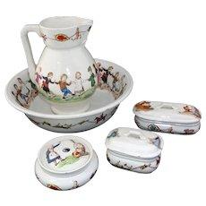 Creil Montereau LAVABO BEBE Childs Chamber Toilette Set 1880 Faience HBCM