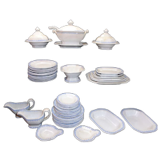 Antique English Dollhouse Ironstone 48pc Dinner Set BLUE FEATHERED EDGE Minton Staffordshire c 1820