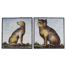 A Rare Counterpart Pair of 19th Century Dutch Delft Tile Panels CAT & DOG