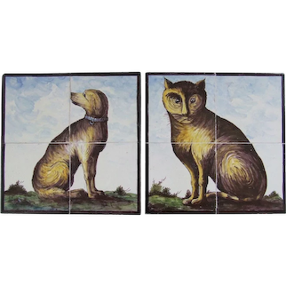 A Rare Counterpart Pair of 19th Century Dutch Delft Tile Panels CAT & DOG