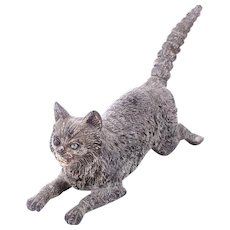 Antique Cold Painted Vienna Bronze Crouching Cat Ready for Play c1900