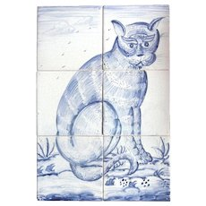 A Dutch Delft CAT Hand Decorated Six-Tile Panel