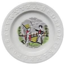 Antique Pearlware ABC Plate ~ The Young Sargeant 1840