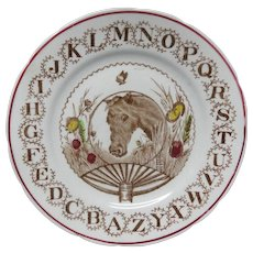 Antique Brown Transferware Alphabet ABC Plate ~ HORSE 1890