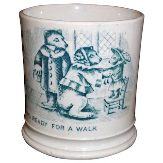 Childs Pearlware ABC Mug The Three Bears 1845 Staffordshire