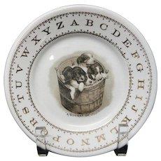 Hotel Plate ABC Puppies ~ Alphabet Plate Harker USA