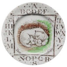 Wild Animals ~ Polar Bear + Cubs ~ ABC Plate 1880