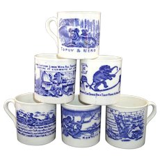 Set of 6 FLOW BLUE ABC CHILDS MUGS Nursery Rhymes School Stories Staffordshire 1860