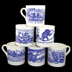 Set of 6 FLOW BLUE ABC CHILDS MUGS Nursery Rhymes School Stories Staffordshire 1860