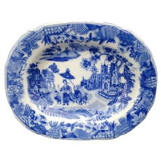 Pearlware Miniature Childs Platter QUEEN OF SHEBA 1830 MINTON Staffordshire Chinoiserie