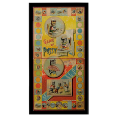 Framed Antique McLoughlin Brothers Game Board ~  GAME of PUSSY 1891 Cats