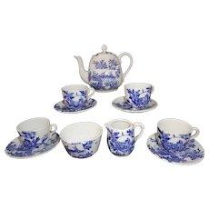 Childs Cobalt Blue Aesthetic Transferware Tea Set SEA VIEW Staffordshire 1895