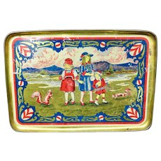 Early Tin Litho Tray ~ SQUIRRELS c 1930