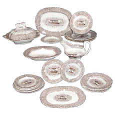 Rare Miniature GYPSY GIPSY 20pc Dinner Set Ridgway Morley 1840 Staffordshire Brown Transferware