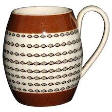 Miniature Creamware Slip Decorated Mochaware Childs Mug 1820 Dipt Rouletting
