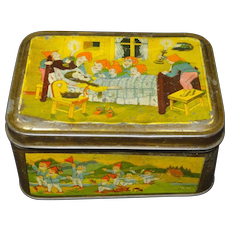 Early Fontaine Biscuit Tin ~ SNOW WHITE and Seven Dwarves 1930