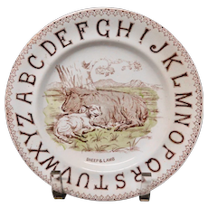 Staffordshire ABC Plate ~ SHEEP and LAMB 1880