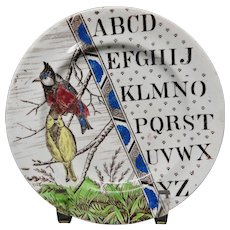 Staffordshire Antique ABC Garden Birds Plate ~ TITMOUSE ~ 1880