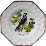 Early Childs Pearlware Plate ~ The Cuckoo Bird c1840