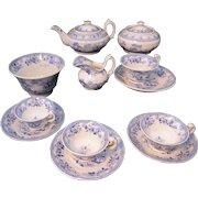 Rare Early Blue Pearlware Childs Tea Set NAPIER Lady in Gazebo ~ Fishing Boat Transferware