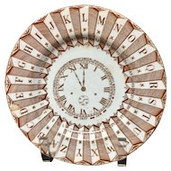Alphabet Plate ~ Clock, Numbers and Calendar Brown Transferware ~ 1880