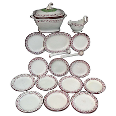 Rare Childs Hand Decorated Creamware 18pc Dinner Set Staffordshire England 1800
