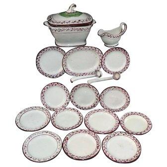 Rare Childs Hand Decorated Creamware 18pc Dinner Set Staffordshire England 1800