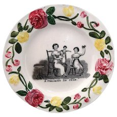 Early Pearlware Childs Christening Plate ~ A Present For Jean c1820 Doll Gift