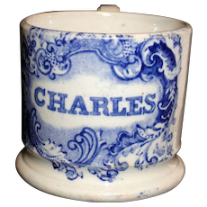 Christening Cup  for CHARLES Staffordshire Child Name Mug 1830 Transferware Pearlware