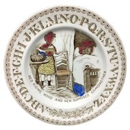 19th Century Victorian ABC Plate Red Riding Hood ~ 1880