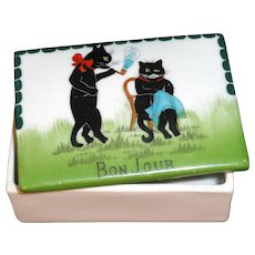 Rare BLACK CATS Trinket Box Bon Jour Germany c1900
