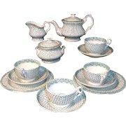 Staffordshire Childs Dimity Tea Set 1840 Dimmock Green Transferware