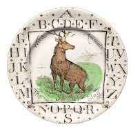 Antique ABC Plate ~ Wild Animals ~ The STAG 1880