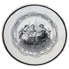 Rare Historical Staffordshire Childs Miniature Plate ~ Womens Suffrage Ladies Tea Party c 1870