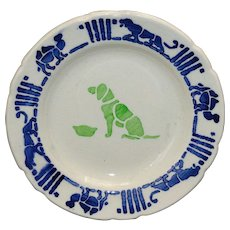 French Faience Childs Toy Plate DOG Camel Lion Animals CREIL c1910