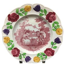 1830 ~ Early Pearlware Flower Border Plate ~ Chess Players
