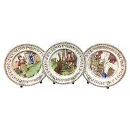 1880 ~ Staffordshire 19th Century Nursery Plates ~ Red Riding Hood