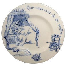 Rare Risque French Childs Transferware Plate ~ Red Riding Hood Gien France 1900 LRRH