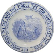 Childs Transferware Plate CAT FIDDLE Cow Moon Whittaker & Co Staffordshire 1888