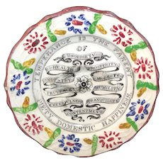 Historical Staffordshire Childs Plate TEMPERANCE Domestic Happiness c1840