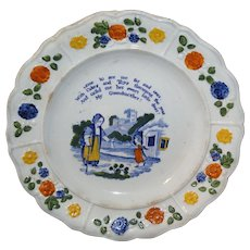 Pearlware Childs Plate MY GRANDMOTHER 1835 Staffordshire Pratt Colors